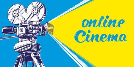 cinema logo festival, vintage old movie camera, , calligraphic text hand drawn vector illustration realistic sketch Иллюстрация