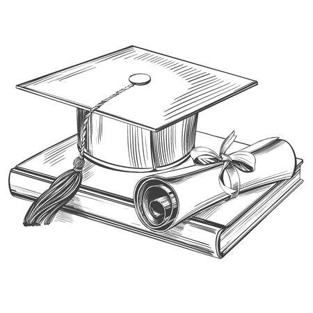 chapeau et diplôme d'études supérieures, éducation vintage set illustration vectorielle dessinés à la main croquis réaliste.