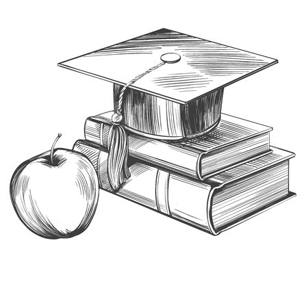graduate cap and books, education vintage set hand drawn vector illustration realistic sketch