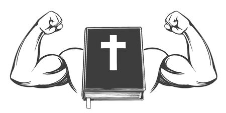 Bible, bras, biceps, main forte, symbole du christianisme icône symbole de dessin animé croquis d'illustration vectorielle dessinés à la main