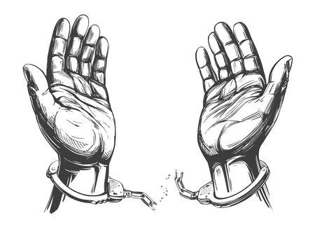 le mani rompono le manette a catena, un simbolo di libertà e icona del perdono schizzo disegnato a mano dell'illustrazione di vettore Vettoriali