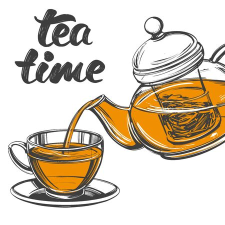 tea time Cup of tea and teapot isolated on white background hand drawn vector illustration realistic sketch