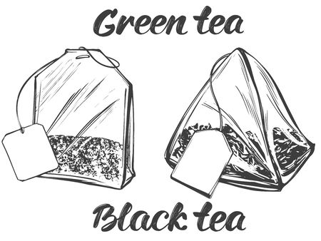 collection of tea bags isolated on white background hand drawn vector illustration realistic sketch
