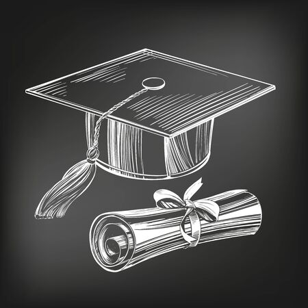 graduate cap and diploma, education vintage setIce cream set hand drawn vector illustration sketch, drawn in chalk on a black Board