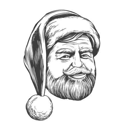 Santa Claus, Christmas symbol hand drawn vector illustration sketch.