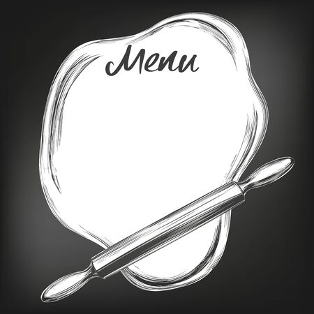 Rolled dough and rolling pin top view, background for text hand drawn vector illustration sketch, drawn in chalk on a black Board