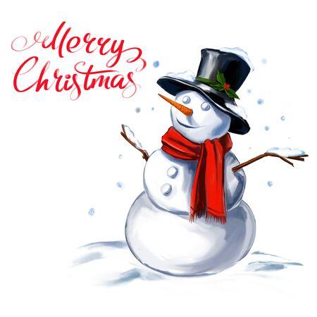 christmas snowman festive Christmas character, art illustration painted with watercolors