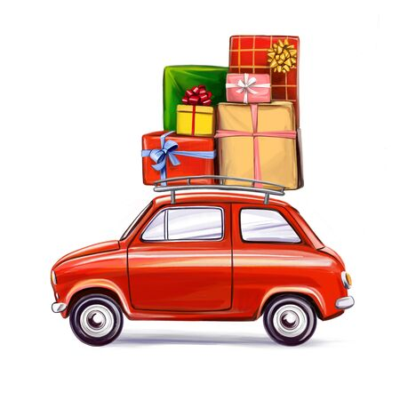 gift box on the car, Decorative Christmas ornament, art illustration painted with watercolors isolated on white background Фото со стока