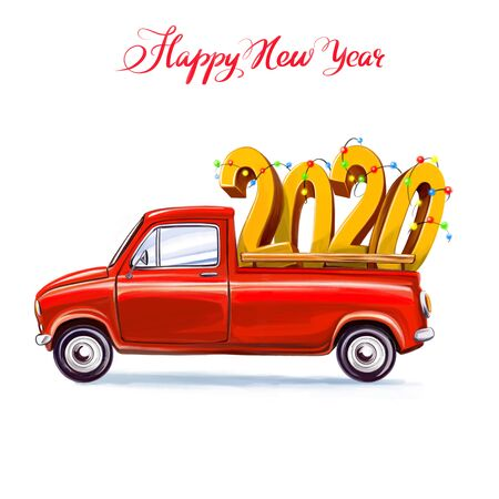 2020 big numbers on the car. Symbol of new year, art illustration painted with watercolors isolated on white background