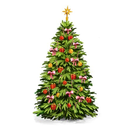 christmas tree, Decorative Christmas ornament, art illustration painted with watercolors isolated on white background