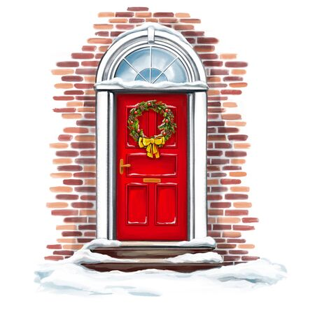 Christmas home decoration, Christmas wreath on the door in winter, art illustration painted with watercolors isolated on white background