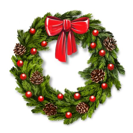 christmas wreath, Decorative Christmas ornament, art illustration painted with watercolors isolated on white background