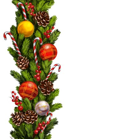 christmas wreath, Decorative Christmas ornament, art illustration painted with watercolors isolated on white background. Фото со стока