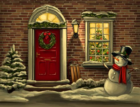 Christmas night. house in Christmas decorations, wreath on the door in winter and snowman, Christmas greeting card, art illustration painted with watercolors