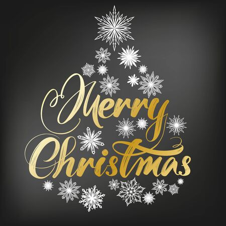 Merry Christmas Calligraphy lettering text and decorative snowflakes, symbol of Christianity hand drawn vector illustration sketch on a black Board