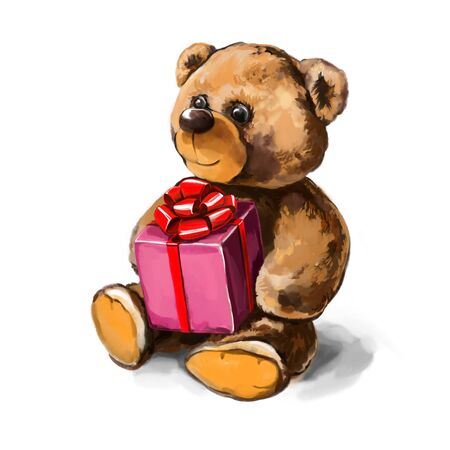 Teddy bear with gift in paws art illustration painted with watercolors isolated on white background