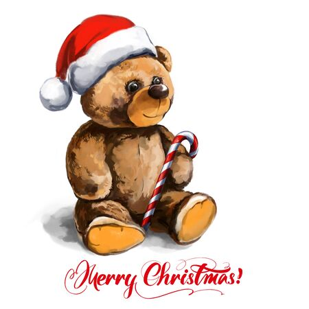 christmas toy teddy bear in Santa hat. festive Christmas character, art illustration painted with watercolors isolated on white background.