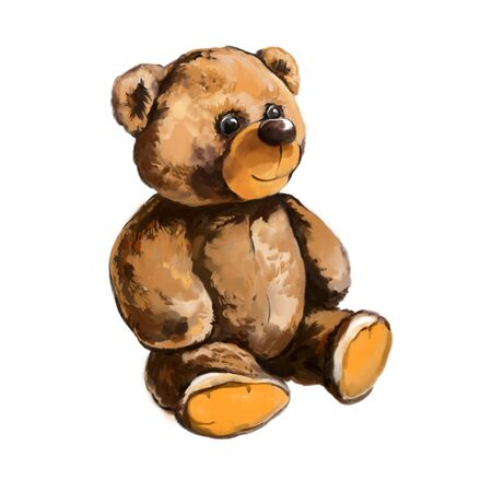 childs toy Teddy bear, art illustration painted with watercolors isolated on white background.
