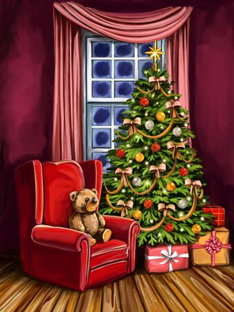 Christmas eve, room decorated with Christmas decoration, Christmas tree symbol of Christmas and new year, greeting card, art illustration painted with watercolors.