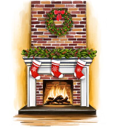 Christmas fireplace, room decorated with Christmas decoration, greeting card, art illustration painted with watercolors