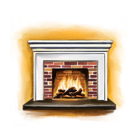 burning fireplace, interior detail art illustration painted with watercolors isolated on white background