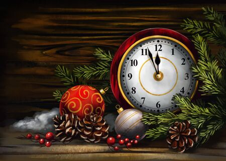 clock and Christmas decorations, Decorative Christmas ornament, art illustration painted with watercolors on wood texture background