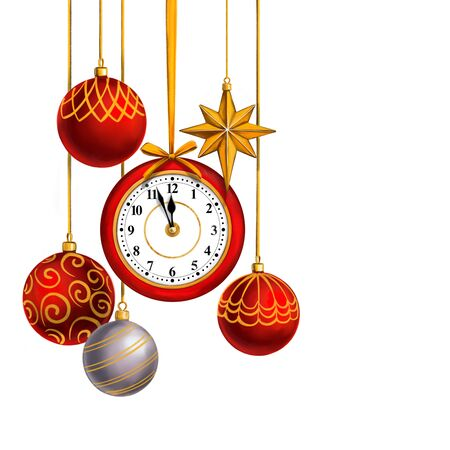 clock and Christmas decorations, Decorative Christmas ornament, art illustration painted with watercolors isolated on white background