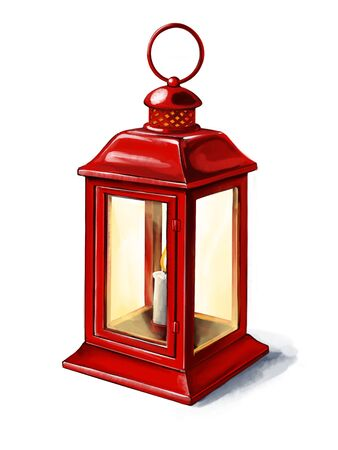red vintage lantern with a burning candle, interior detail art illustration painted with watercolors isolated on white background