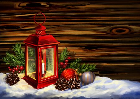Red vintage lantern with a burning candle with Christmas toys on wood texture background. Decorative Christmas ornament, art illustration painted with watercolors
