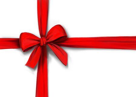 Cinta roja con lazo aislado sobre fondo blanco, envoltura de regalos, ilustración de arte pintado con acuarelas Foto de archivo
