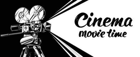 cinema logo festival, vintage old movie camera, , calligraphic text hand drawn vector illustration realistic sketch Ilustração