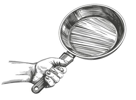 frying pan hold in hand, cooking, kitchen, hand drawn vector illustration realistic sketch