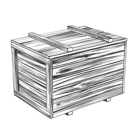 caisses, boîte en bois fermée, croquis réaliste d'illustration vectorielle dessinés à la main de colis Vecteurs
