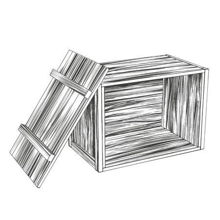 crates, open wooden box, parcel hand drawn vector illustration realistic sketch Vecteurs