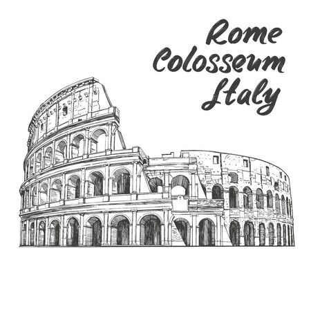 Colosseum, an ancient amphitheatre, an architectural historical landmark of Rome, Italy. hand drawn vector illustration sketch isolated on a white background