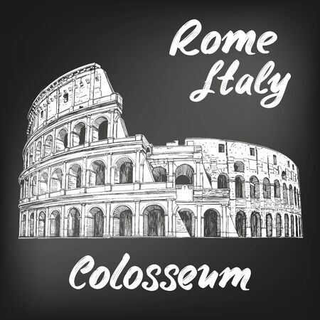 Colosseum, an ancient amphitheatre, an architectural historical landmark of Rome, Italy. hand drawn vector illustration sketch, drawn in chalk on a black board