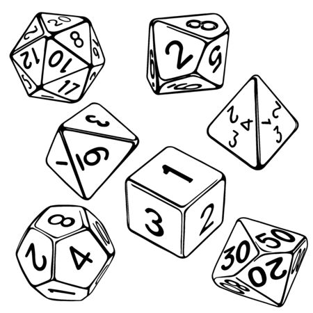 collection of dice for role-playing games isolated on white background vector illustration sketch Vector Illustration