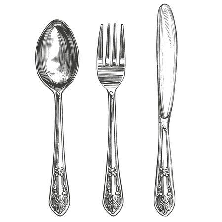 Juego de cubiertos tenedor, cuchara, cuchillo, cocina, ajuste de la mesa boceto realista de ilustración de vector dibujado a mano Ilustración de vector