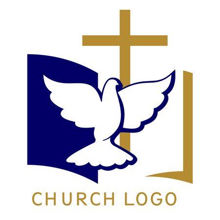 Church logo, symbol of Christianity, the cross , dove and the gospel, Scripture, vector illustration Logo