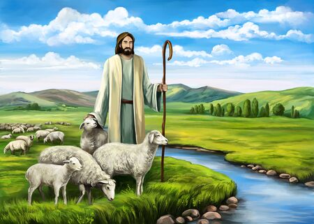 Son of God, the Lord is my shepherd, Jesus Christ with a flock of sheep, symbol of Christianity hand drawn art illustration painted with watercolors
