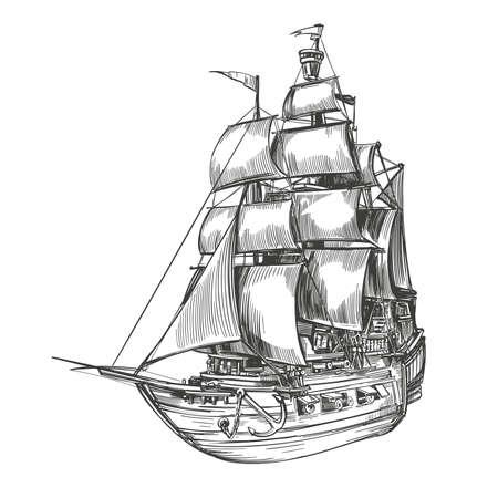 retro old Ship vintage hand drawn vector illustration realistic sketch.