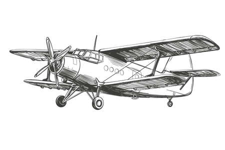 airplane vintage hand drawn vector llustration realistic sketch 矢量图像