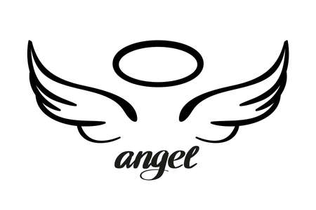 Angel wings and halo, icon sketch , religious calligraphic text symbol of Christianity hand drawn vector illustration sketch