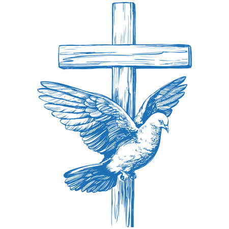 Happy easter, cross and dove, Easter. symbol of Christianity hand drawn vector illustration sketch Vecteurs