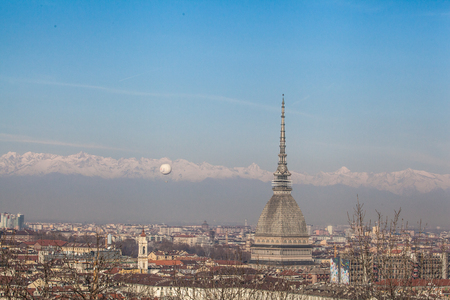 The Mole Antonelliana is a major landmark building in Turin, Italy. It is named for the architect who built it, Alessandro Antonelli. A mole is a building of monumental proportions. Stock Photo