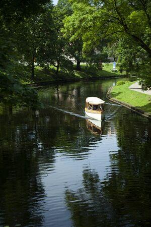 Riga, Latvia - June 2016: Dinghy at pilsetas kanals (city pond)