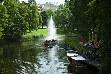 Riga, Latvia - June 2016: Dinghy at pilsetas kanals
