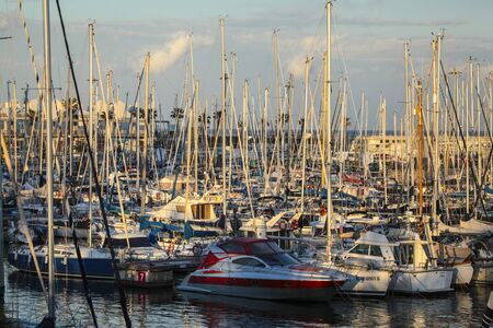 Barcelona, Spain - 23 April 2013: Marina of Port Olmpic at sunset