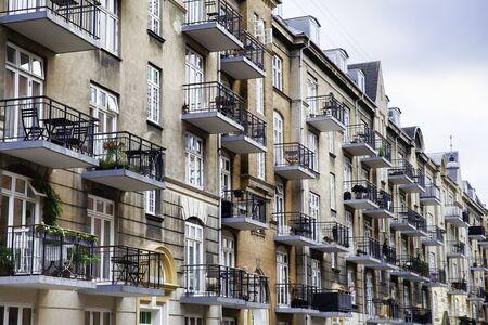 Copenhagen, Denmark - 12 September 2019: Balconies of a modern residential building with diminishing perspective, modern living standards