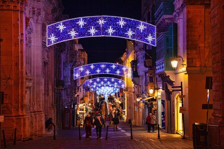 Valletta, Malta - 5 January 2020: Merchants Street with christmas decorations